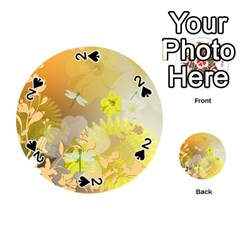 Beautiful Yellow Flowers With Dragonflies Playing Cards 54 (Round)