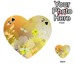 Beautiful Yellow Flowers With Dragonflies Playing Cards 54 (heart)
