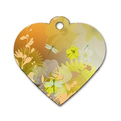 Beautiful Yellow Flowers With Dragonflies Dog Tag Heart (One Side)