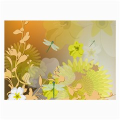 Beautiful Yellow Flowers With Dragonflies Large Glasses Cloth