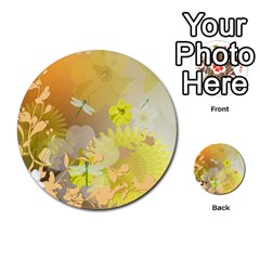 Beautiful Yellow Flowers With Dragonflies Multi Purpose Cards (round)