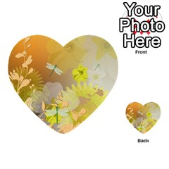 Beautiful Yellow Flowers With Dragonflies Multi-purpose Cards (Heart)