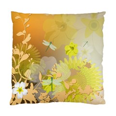 Beautiful Yellow Flowers With Dragonflies Standard Cushion Case (One Side)