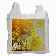 Beautiful Yellow Flowers With Dragonflies Recycle Bag (Two Side)