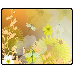 Beautiful Yellow Flowers With Dragonflies Fleece Blanket (medium)