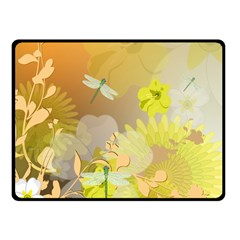 Beautiful Yellow Flowers With Dragonflies Fleece Blanket (Small)