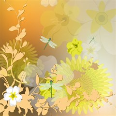 Beautiful Yellow Flowers With Dragonflies Magic Photo Cubes