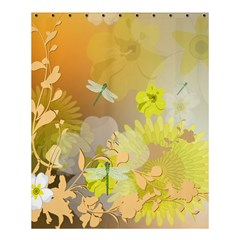 Beautiful Yellow Flowers With Dragonflies Shower Curtain 60  x 72  (Medium)