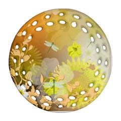 Beautiful Yellow Flowers With Dragonflies Ornament (Round Filigree)