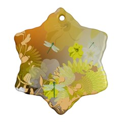Beautiful Yellow Flowers With Dragonflies Ornament (snowflake)