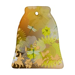 Beautiful Yellow Flowers With Dragonflies Bell Ornament (2 Sides)