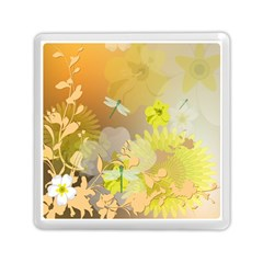 Beautiful Yellow Flowers With Dragonflies Memory Card Reader (Square)