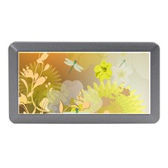 Beautiful Yellow Flowers With Dragonflies Memory Card Reader (Mini)