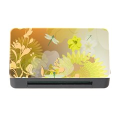 Beautiful Yellow Flowers With Dragonflies Memory Card Reader With Cf
