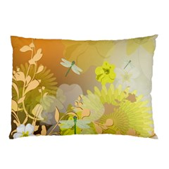Beautiful Yellow Flowers With Dragonflies Pillow Cases (Two Sides)