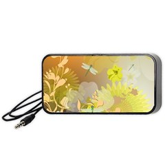 Beautiful Yellow Flowers With Dragonflies Portable Speaker (Black)