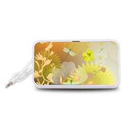 Beautiful Yellow Flowers With Dragonflies Portable Speaker (White)