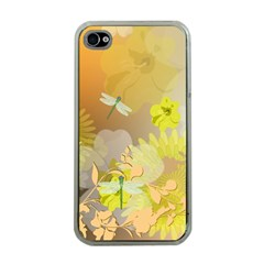 Beautiful Yellow Flowers With Dragonflies Apple iPhone 4 Case (Clear)