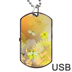 Beautiful Yellow Flowers With Dragonflies Dog Tag USB Flash (Two Sides)