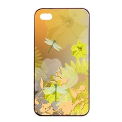 Beautiful Yellow Flowers With Dragonflies Apple Iphone 4/4s Seamless Case (black)