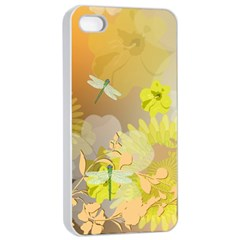 Beautiful Yellow Flowers With Dragonflies Apple Iphone 4/4s Seamless Case (white)