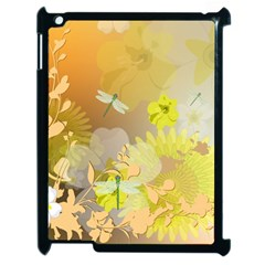Beautiful Yellow Flowers With Dragonflies Apple iPad 2 Case (Black)