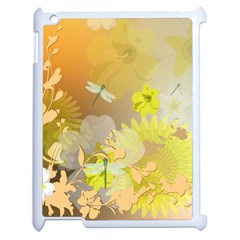 Beautiful Yellow Flowers With Dragonflies Apple iPad 2 Case (White)