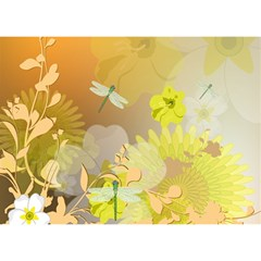 Beautiful Yellow Flowers With Dragonflies Birthday Cake 3D Greeting Card (7x5)