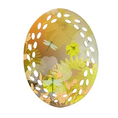 Beautiful Yellow Flowers With Dragonflies Oval Filigree Ornament (2-Side)