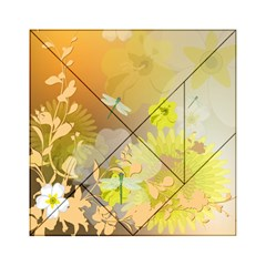 Beautiful Yellow Flowers With Dragonflies Acrylic Tangram Puzzle (6  x 6 )