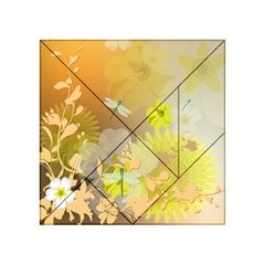 Beautiful Yellow Flowers With Dragonflies Acrylic Tangram Puzzle (4  X 4 )