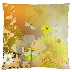 Beautiful Yellow Flowers With Dragonflies Large Cushion Cases (One Side)