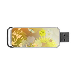 Beautiful Yellow Flowers With Dragonflies Portable USB Flash (One Side)