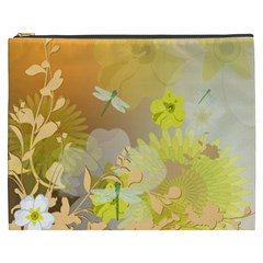 Beautiful Yellow Flowers With Dragonflies Cosmetic Bag (XXXL)