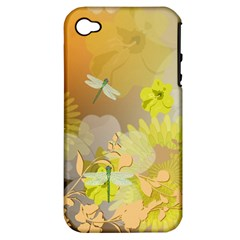 Beautiful Yellow Flowers With Dragonflies Apple iPhone 4/4S Hardshell Case (PC+Silicone)