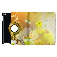 Beautiful Yellow Flowers With Dragonflies Apple iPad 3/4 Flip 360 Case