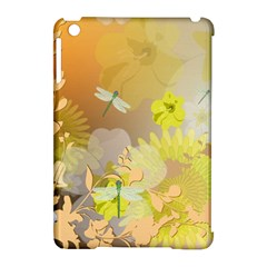 Beautiful Yellow Flowers With Dragonflies Apple Ipad Mini Hardshell Case (compatible With Smart Cover)