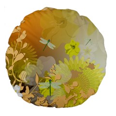 Beautiful Yellow Flowers With Dragonflies Large 18  Premium Round Cushions
