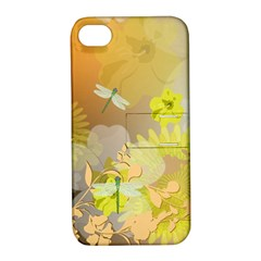 Beautiful Yellow Flowers With Dragonflies Apple iPhone 4/4S Hardshell Case with Stand