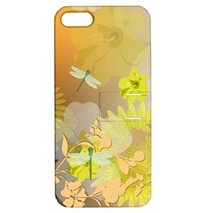 Beautiful Yellow Flowers With Dragonflies Apple Iphone 5 Hardshell Case With Stand