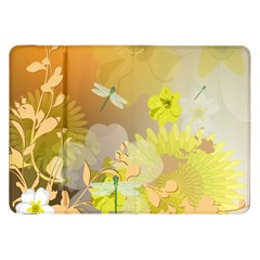 Beautiful Yellow Flowers With Dragonflies Samsung Galaxy Tab 8 9  P7300 Flip Case