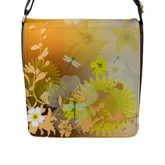 Beautiful Yellow Flowers With Dragonflies Flap Messenger Bag (L)