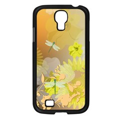 Beautiful Yellow Flowers With Dragonflies Samsung Galaxy S4 I9500/ I9505 Case (Black)