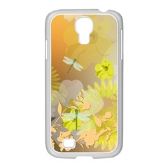 Beautiful Yellow Flowers With Dragonflies Samsung GALAXY S4 I9500/ I9505 Case (White)