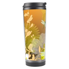 Beautiful Yellow Flowers With Dragonflies Travel Tumblers