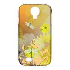 Beautiful Yellow Flowers With Dragonflies Samsung Galaxy S4 Classic Hardshell Case (PC+Silicone)