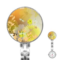 Beautiful Yellow Flowers With Dragonflies Stainless Steel Nurses Watches