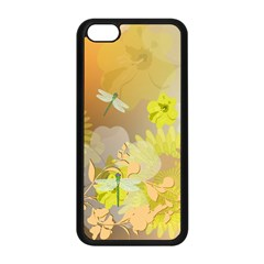 Beautiful Yellow Flowers With Dragonflies Apple iPhone 5C Seamless Case (Black)