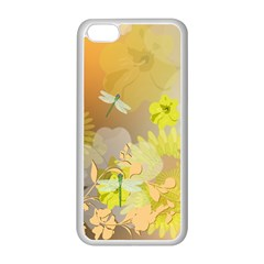 Beautiful Yellow Flowers With Dragonflies Apple iPhone 5C Seamless Case (White)