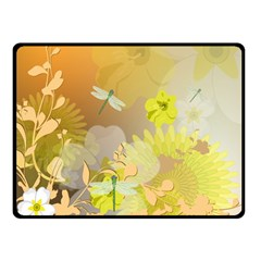 Beautiful Yellow Flowers With Dragonflies Double Sided Fleece Blanket (small)
